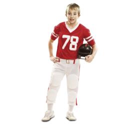 Rugbyspeler jongens kostuum rood
