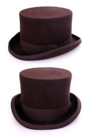Hoge hoed wolvilt bruin heren
