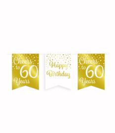 Party vlaggenlijn goud/wit - 60