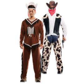 Kostuum double fun indiaan cowboy