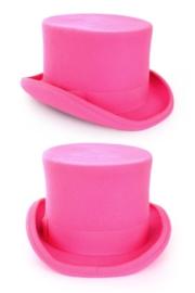 Hoge hoed wolvilt roze heer