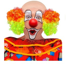 Pruik kale kop clown meerkleurig