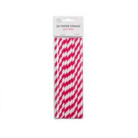 20  Papieren rietjes 6mm x 197mm striped hotpink