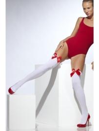 Witte panty met rode strik