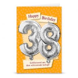 Leeftijd ballonnen kaart 38 jaar