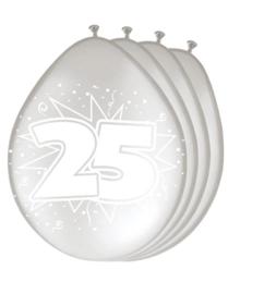 Ballonnen 25 jaar zilverkleurig