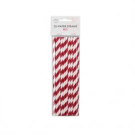 20  Papieren rietjes 6mm x 197mm striped rood