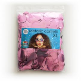 Confetti metallic rond 23mm 250 gram baby pink
