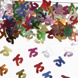 Tafeldecoratie / sier confetti 75 jaar