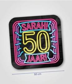 Deurbord neon 50 jaar Sarah
