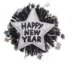 Broche happy new year zilver