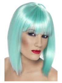 Pruik glamour Neon Aqua