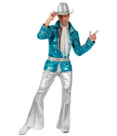 Disco abba kostuum blue silver