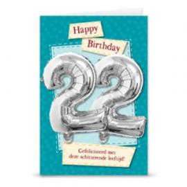 Leeftijd ballonnen kaart 22 jaar