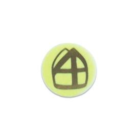 Mijter button geel