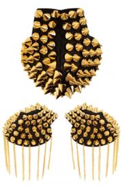 Epaulettenkapje met spikes goud