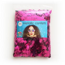 Confetti metallic rond 10mm 250 gram hotpink