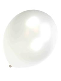 Kwaliteitsballon metallic pearl/wit 10 stuks