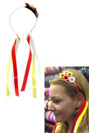 Haarbeugel met bloemen rood, wit en geel