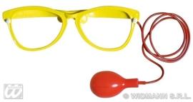 Clownsbril spuitend