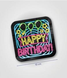 Neon onderzetters happy birthday
