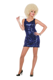 Blauwe pailletten jurkje