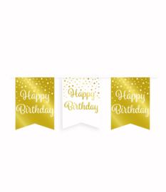 Party vlaggenlijn goud/wit - Happy Birthday