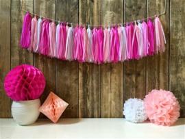 Pastel kleuren tassel slinger roze