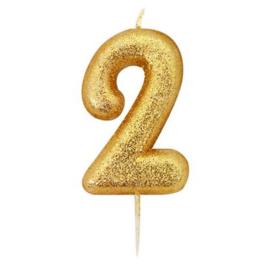 Nummerkaars glitter goud '2'