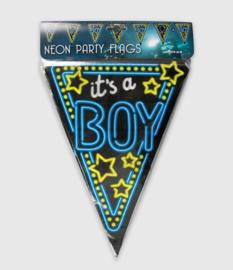 Vlaggenlijn neon 10 meter | Geboorte boy