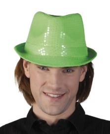 Neon groen pailletten hoedje