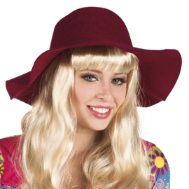 Vintage hoed bordeaux rood