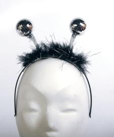 Tiara zwart met discobal zilver