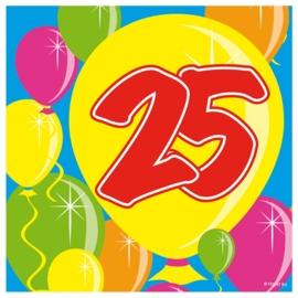 Servetten 25 jaar balloons