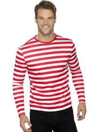Shirt streep rood wit