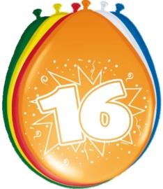 Ballonnen 16 jaar (assorti kleuren)