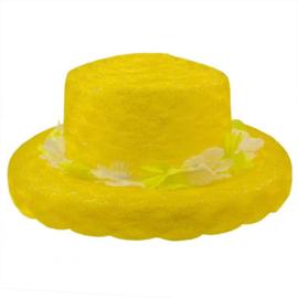 Neon geel zomer hoed