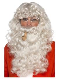 Kerstmannen set grijs | Pruik, baard, pijp en bril
