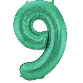 Folieballon 9 mat groen