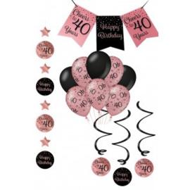 Verjaardag Feestpakket 4 delig rose zwart   40 jaar