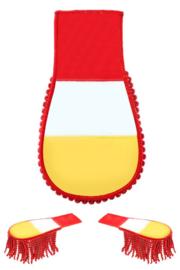 Schouder epaulette rood, wit en geel