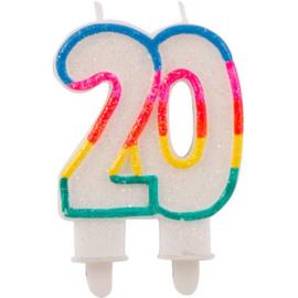20 Jaar Glitterkaarsjes met 2 houders