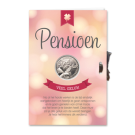 Kaart geluksmunt Pensioen