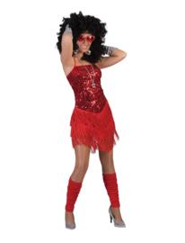 Flapper jurkje fringie rood