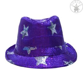 Pailletten hoed sterren | Paars