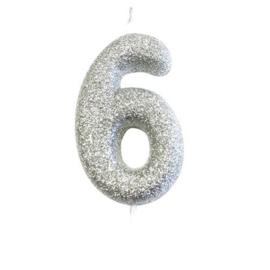 Nummerkaars glitter zilver '6'