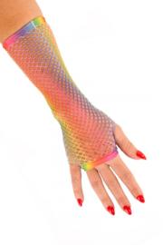 Handschoenen net lang regenboog