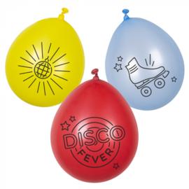 Set 6 Latex ballonnen 'Disco fever'