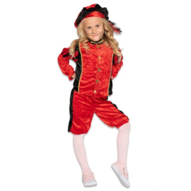 Kinder pieten pakje velours zwart rood