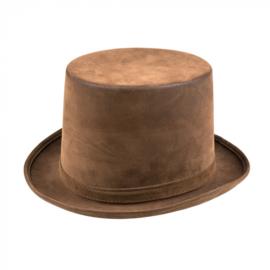 Hoge hoed steamtopper | bruin